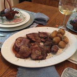 Lamb and potatoes.